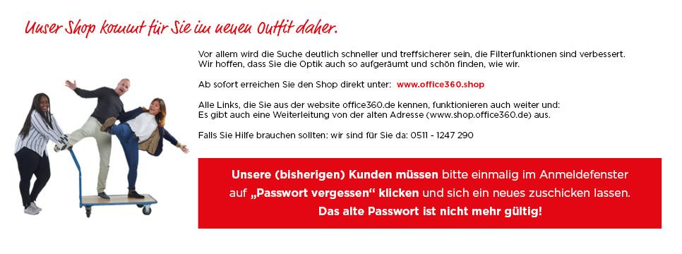 Begrüßung neuer Shop - Hinweis Passwort zuschicken lassen