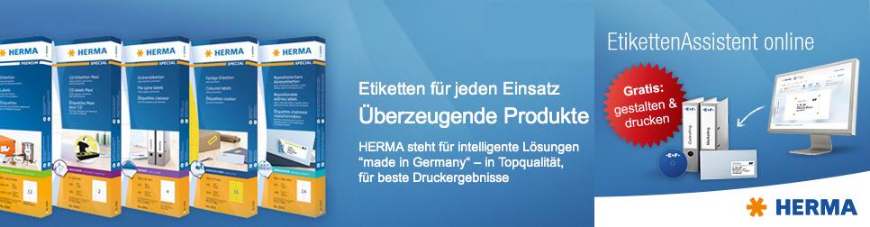 HERMA Startseitenbanner mit Link zum Etiketten-Assistenten